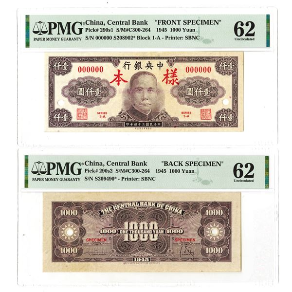 Central Bank of China. 1945, 1000 Yuan, Front & Back Specimen Notes.