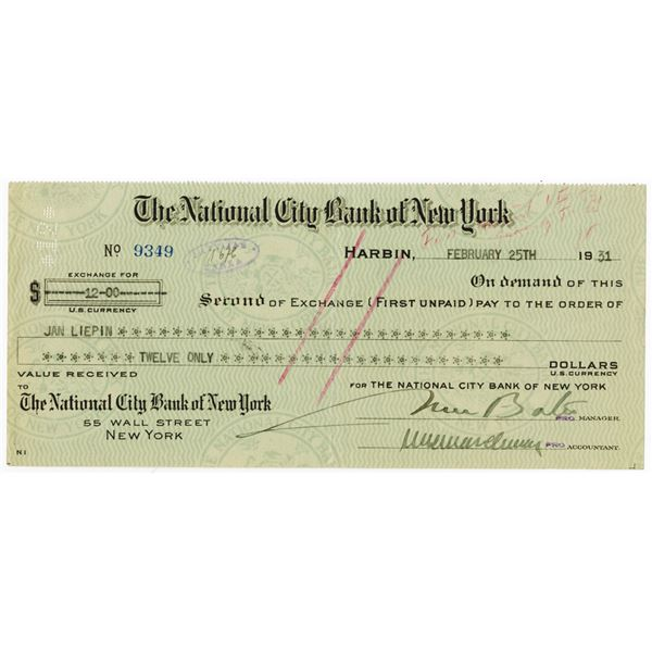 Harbin Branch, National City Bank of New York, 1931 Second of Exchange.