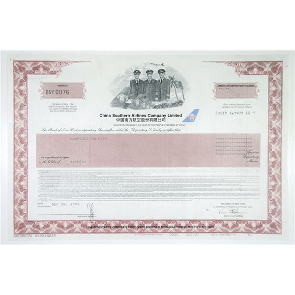 China Southern Airlines Co. Ltd. 1999 Issued Stock Certificate