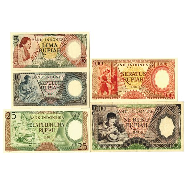 Indonesia, 1956 to 1959 Banknote Assortment.