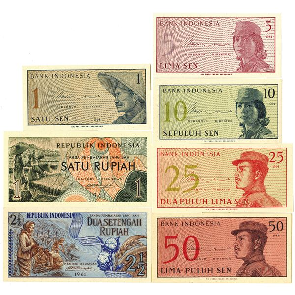 Republic of Indonesia, 1964, Collection of Issued Banknotes