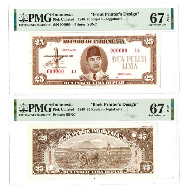 Republik Indonesia. 1948. 25 Rupiah, Front & Back Printer's Design Essay Banknote Pair.