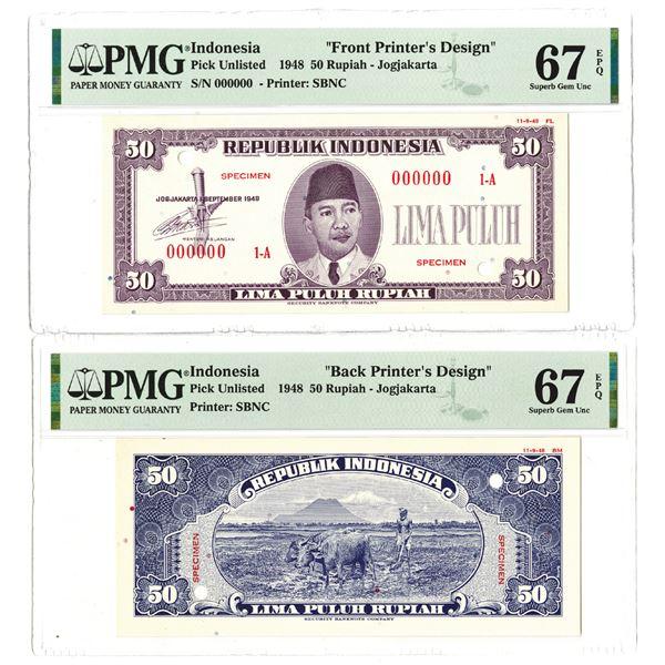 Republik Indonesia. 1948. 50 Rupiah, Front & Back Printer's Design Essay Banknote Pair.