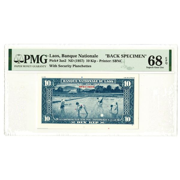 Banque Nationale du Laos. ND (1957). Uniface Back Specimen Banknote.