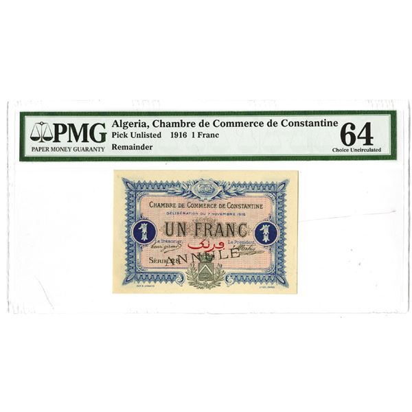 Chambre de Commerce de Constantine. 1916. Remainder Note.