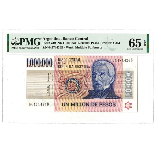 Banco Central de la Republica Argentina. ND (1981-1983). Issued Note.