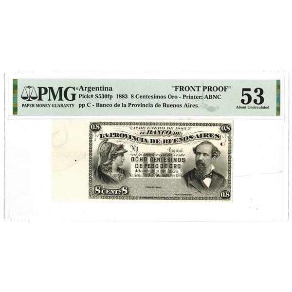"Banco de la Provincia de Buenos Aires. 1883. ""Top Pop"" Front Proof Note."