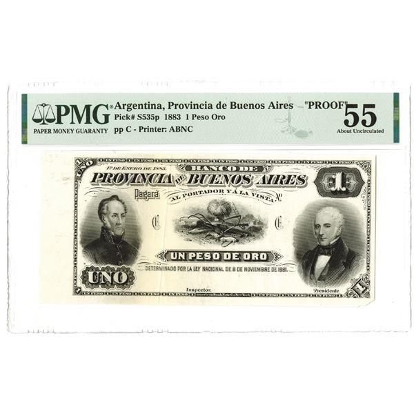 Provincia de Buenos Aires. 1883. Proof Note.