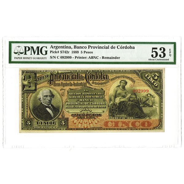 Banco Provincial de Cordoba. 1889. Remainder Note.