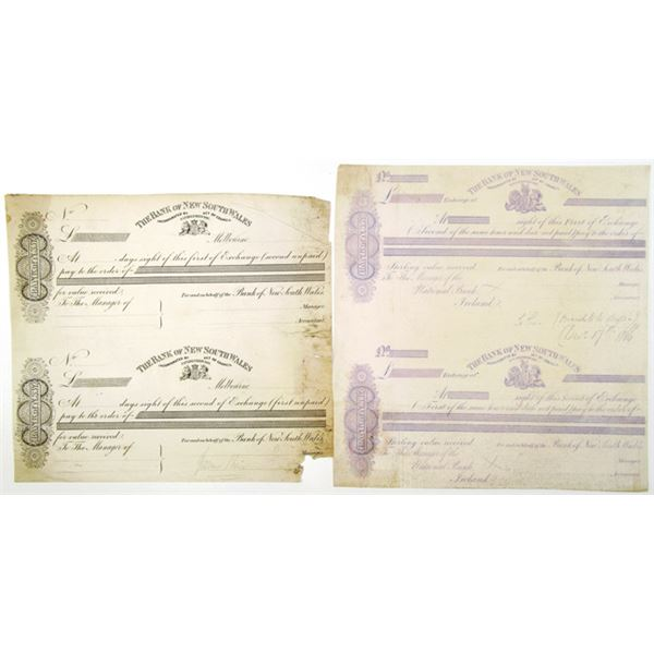 Bank of New South Wales, 1850-60's Uncut Proof Sheet Pair of 1st and 2nd of Exchanges.