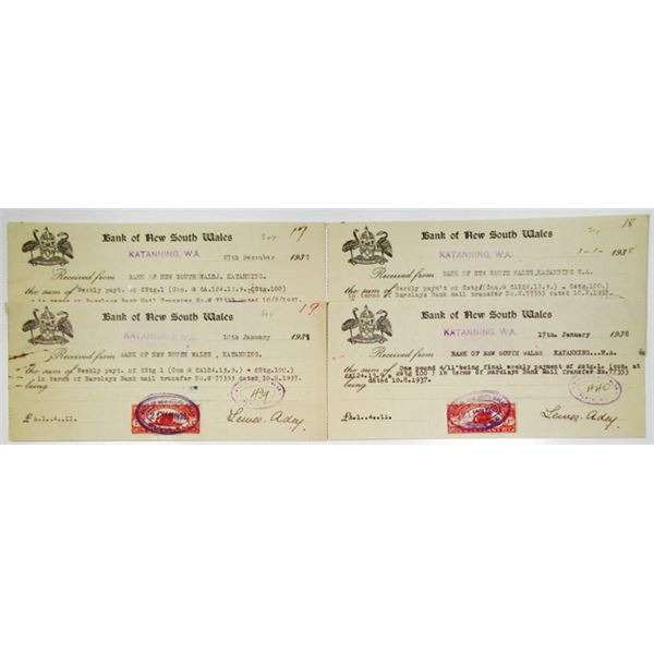 Bank of New South Wales Issued Check Quartet, 1937-1938