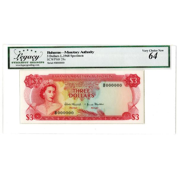 Bahamas, Monetary Authority, 1968 Specimen Banknote