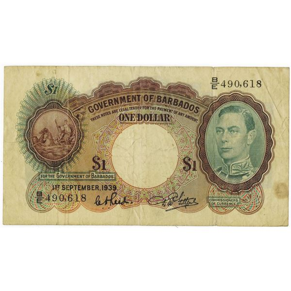 Government of Barbados. 1939 Issue Banknote.