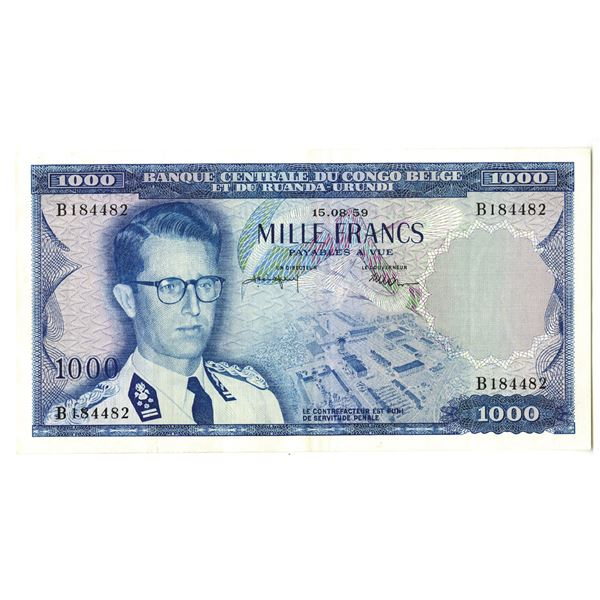 Banque Centrale du Congo Belge et du Ruanda-Urundi. 1959 Issue Banknote.