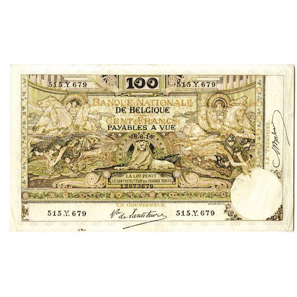 Banque Nationale de Belgique. 1914 Issue Banknote.