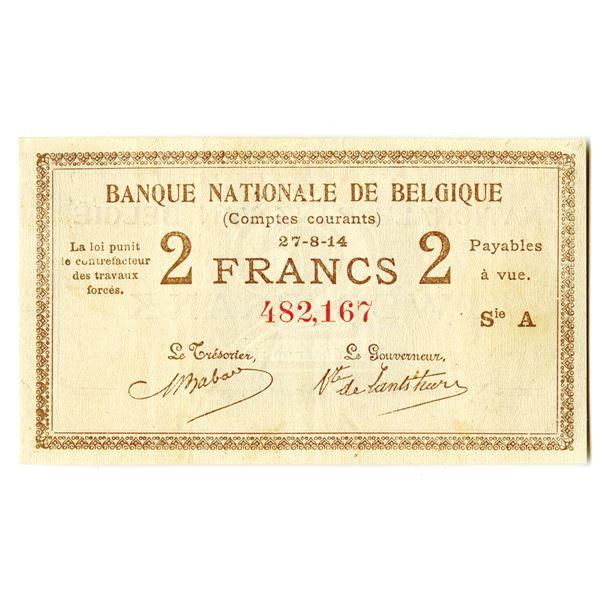 Belgium, Banque Nationale de Belgique, 1914 Issued Banknote