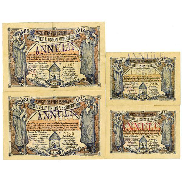 Association Professionnelle Nouvelle Union Verrire. 1915. Lot of 4 Canceled Notes.