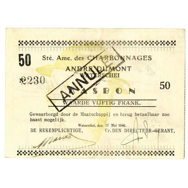 Societ_ Ame. des Charbonnages. 1940. Canceled Note.