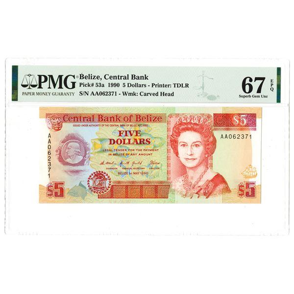 "Central Bank of Belize. 1990 High Grade ""Top Pop"" Banknote."