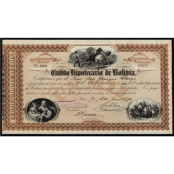 Credito Hipotecario de Bolivia, 1870 I/U Stock Certificate by National Bank Note Company.