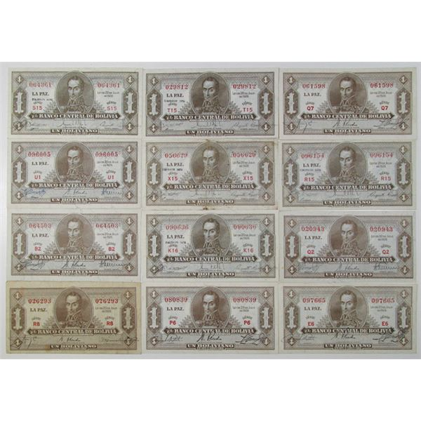 Banco Central de Bolivia, Law of 1928  Banknote Assortment