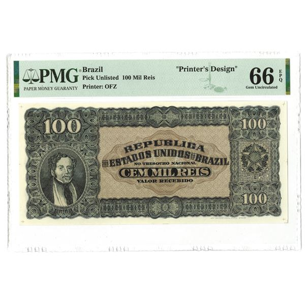 "Republic Estados Unidos Do Brazil, ca. 1920's Essay ""Printer's Design"" Banknote."