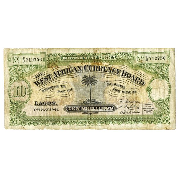 West African Currency Board. 1941. Issued Note.