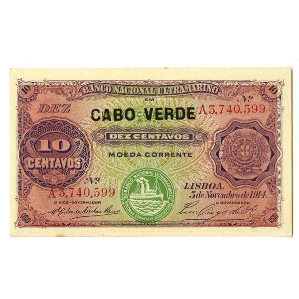 Banco Nacional Ultramarino. 1914 (ND 1921) Issue Banknote.