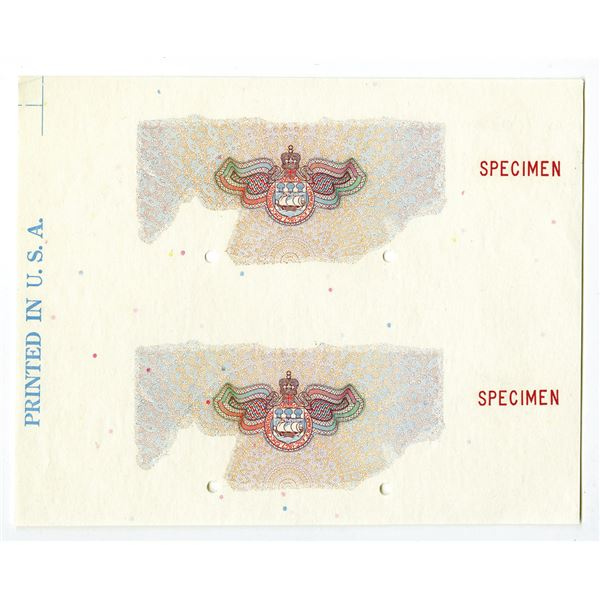 Canadian Bank of Commerce, 1935 $10 Issue Obverse Underprint Specimen / Proof in Red, Blue & M/C wit