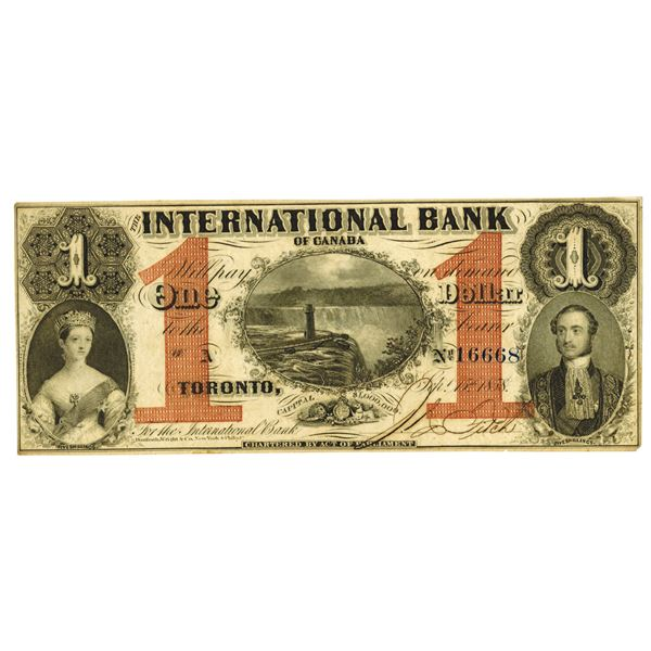 International Bank of Canada. 1858 Issue Banknote.
