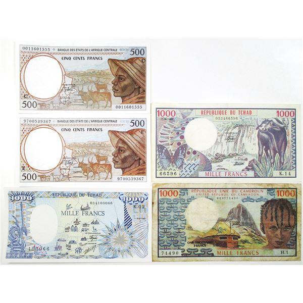 Banque des Ätats de l'Afrique Centrale. 1974-2000. Lot of 5 Issued Notes.