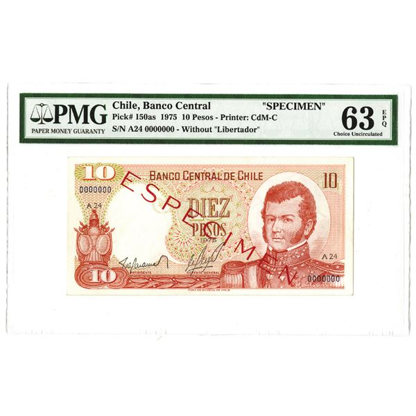 Banco Central de Chile. 1975. Specimen Note.