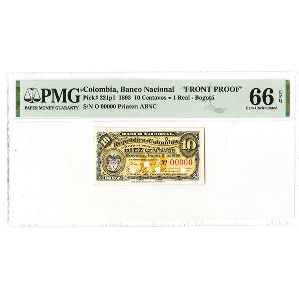 "Banco Nacional. 1893. ""Top Pop"" Front Proof Note."