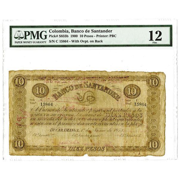 Colombia, Banco de Santander 1900 Issued Banknote