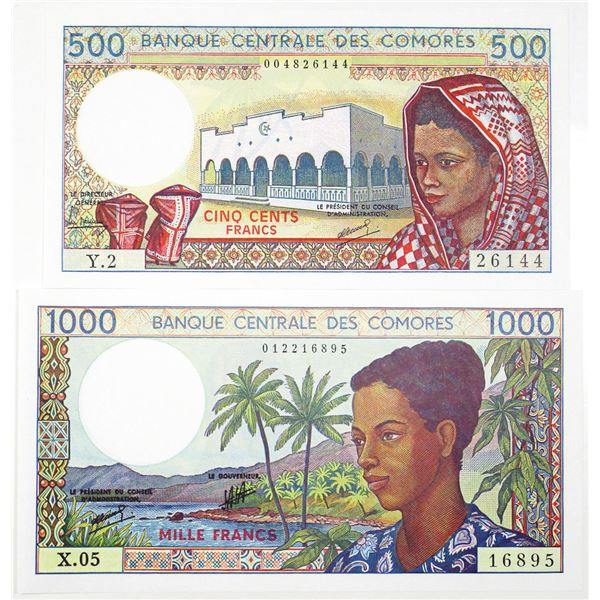 Banque Central des Comores. ND (1984-2004). Lot of 2 Issued Notes.