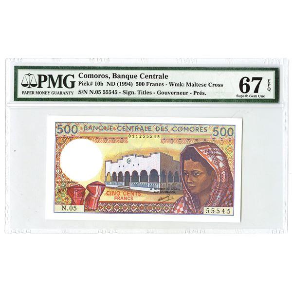 Banque Centrale Des Comoros, ND (1994) Issue Banknote.