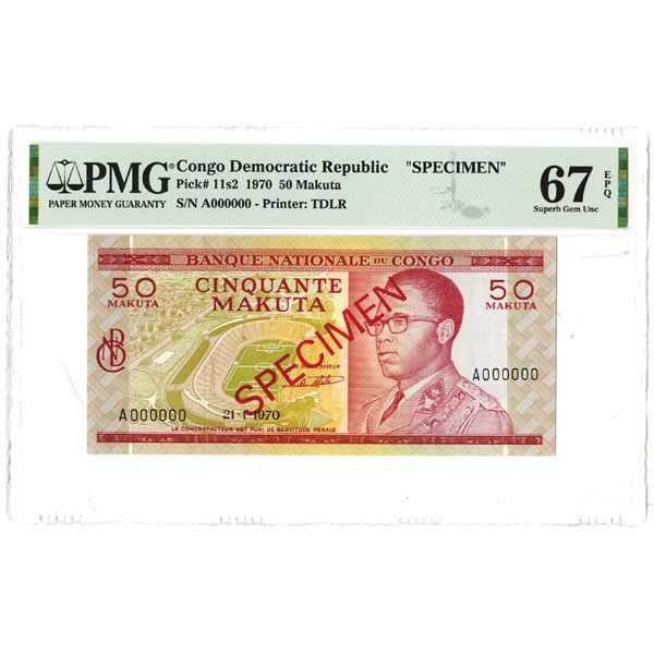 "Banque Nationale du Congo. 1970. Specimen ""Top Pop"" Banknote."