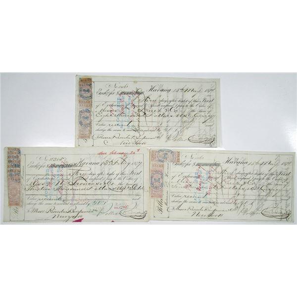 Cuba, 1870's Rionda Sugar Baron Bills of Exchange to New York With Cuban Revenue Stamps Trio.