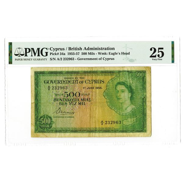 Government of Cyprus / British Administration. 1955. Issued Banknote.