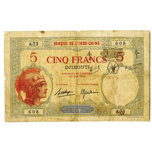 Banque de l'Indo-Chine. 1943 Issue Banknote.