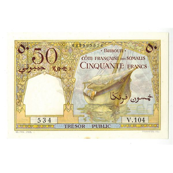 Tresor Public, Cote Francaise des Somalis. ND (1952) Issue Banknote.