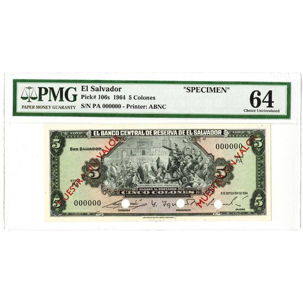 Banco Central de Reserva de El Salvador. 1964. Specimen Note.