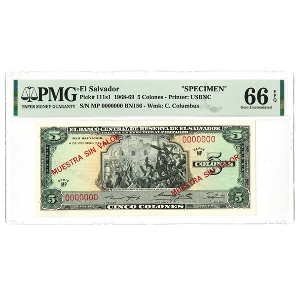 Banco Central de Reserva de El Salvador. 1969. Specimen Note.