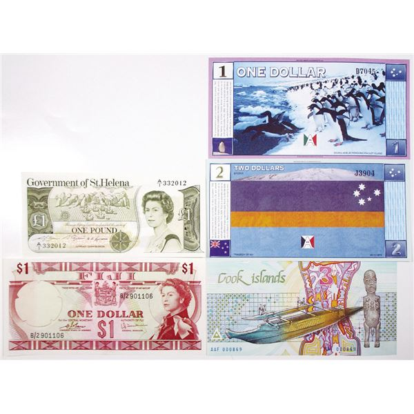 Fiji, St. Helena, Cook Islands & Antarctica. ca. 1970s-1990s. Lot of 5 Issued Notes.