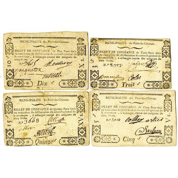 Quartet of French Revolution Billet de Confiance, 1791