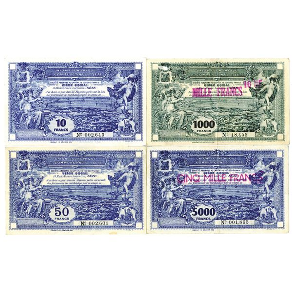 Union Economique des Commercants de Ste. ND (ca. 1920s-1930s). Lot of 4 Issued Notes.
