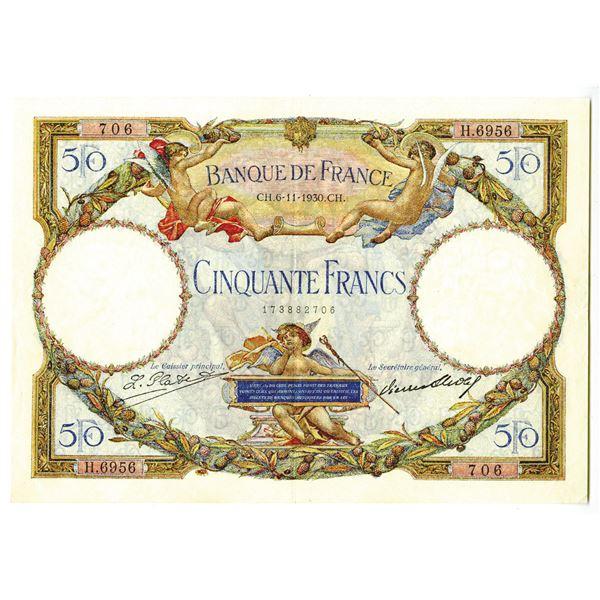 Banque de France. 1930 Issue Banknote.
