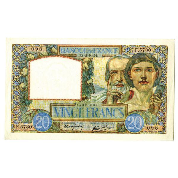 Banque de France. 1941 Issue Banknote.