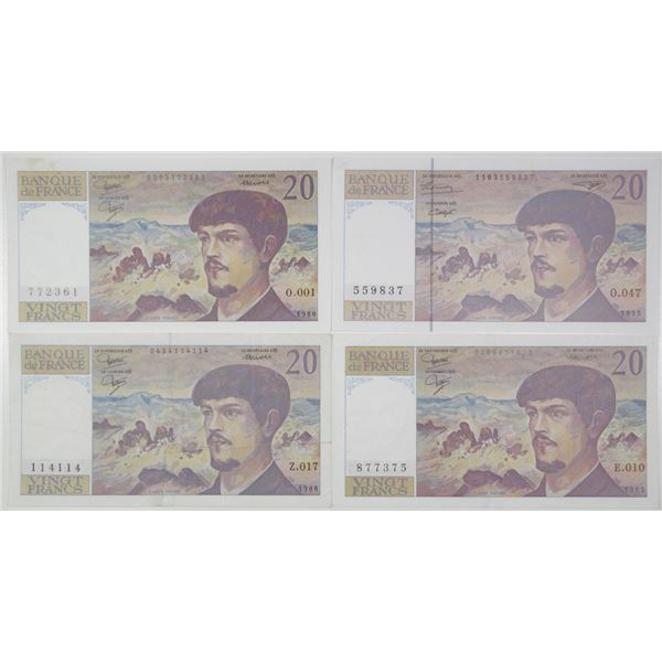 Banque de France. 1980-1995. Lot of 4 Issued Notes.