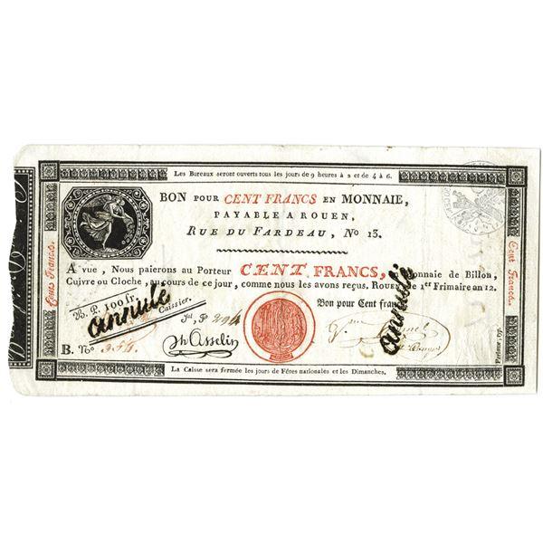 Caisse d'Echange des Monnaies (Rouen). AN12 (1803). Issued Note.